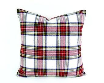 Wool Plaid Christmas Pillows, Holiday Pillow, White Red Plaid Pillow Cover, Dress Stewart Stuart Tartan Cushion, Red White Blue Plaid 18x18