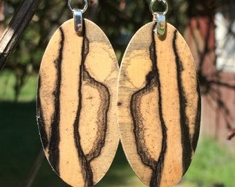 Striped Black And White Ebony Reclaimed Wood Light Weight Earrings