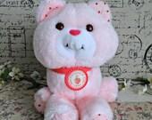 Vintage Custard Kitty Cat Strawberry Shortcake Pink Stuffed animal 80s plush toy