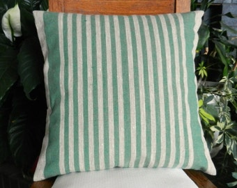 Eco-Friendly Flax Linen Stripe Pillow Cover in Green & Natural 18x18 inches - Rustic Farmhouse Decor