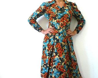 French Vintage 60s Floral Shirt Dress