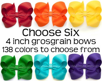 "Grosgrain Bows Set, 4 Inch Boutique Bows for Girls, 6 Pack of Hair Bows for Toddlers, 4"" Hair Bows, Choose Colors, 138 Colors, Large Bows"
