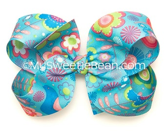 "Blue Floral Hair Bow, 5 inch Hair Bow, Flower Print Boutique Bow, 5"" Grosgrain Bow, Turquoise, Hot Pink, Flower Bow, Spring, Summer, Birds"