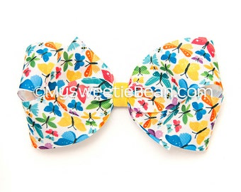 Butterfly Hair Bow, 5 inch Hair Bow, Printed Boutique Bow, Butterfly Bow for Girls, Yellow, Turquoise, Hot Pink, Butterflies, Toddler Girl