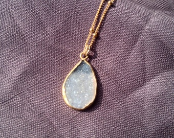 Grey Black Druzy Necklace on a Gold Chain