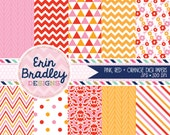 Digital Paper Pack in Pink Red & Orange with Herringbone Chevron Striped Triangle Floral Polka Dotted and Damask Patterns