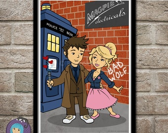 Rose Tyler and Doctor Who - art print poster