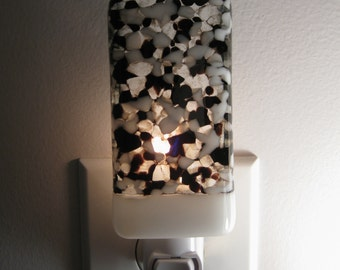 Black and White Speckled Night Light - Fused Glass, Lighting, Kitchen or Bathroom, Handmade, Home decor