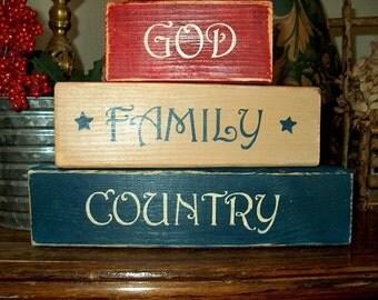 Primitive Shelf Blocks GOD FAMILY COUNTRY Americana Home Decor Sign Folk Art Stars