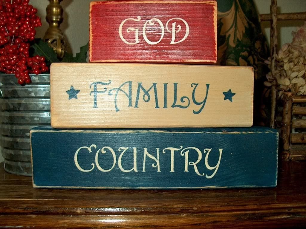 Primitive shelf blocks god family country americana home decor for Americana home decor