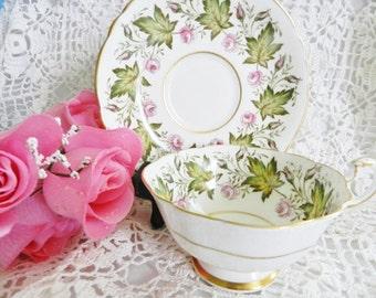 Paragon Teacup and Saucer,  Commemorate Tea Cup,  Princess Elizabeth to Canada Tea Cup, 1951    no16