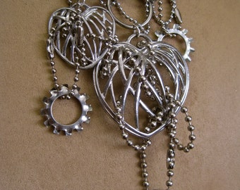 SALE Kinetic Lovers: Silver Heart Necklace Movable Steampunk Industrial Hardware Multi Chains Long Statement 2 Hearts One of a Kind OOAK