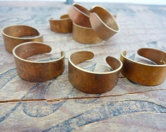 Ring Blank Vintage Brass Adjustable Ring Blank with Patina (2) K22 Copper Color