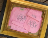 3 piece monogrammed baby gown gift set.  Baby Boy or Baby Girl. White, Black, Pink or Blue.