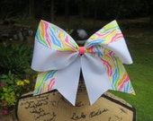 SALE... Neon zebra and white CHEER Bow.  BIG cheer bow. Only one available .... Ready to ship