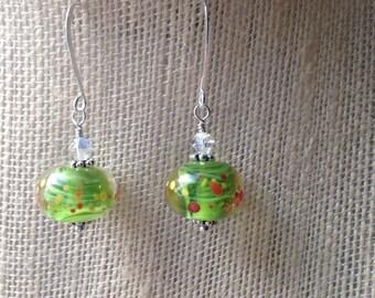 Spotted green lampwork earrings