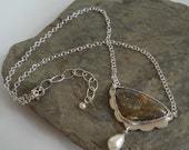 Nipomo Marcasite Agate sterling silver pendant freshwater Pearl