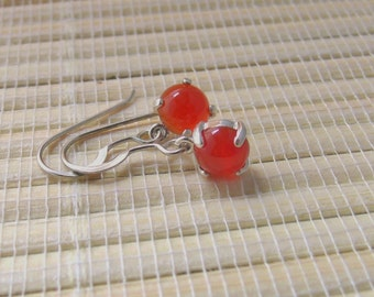 Carnelian Earrings Dangle Stud Sterling Silver 6mm