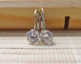 Cubic Zirconia Earrings Leverback Sterling Silver April Alternate Birthstone 6mm On Sale