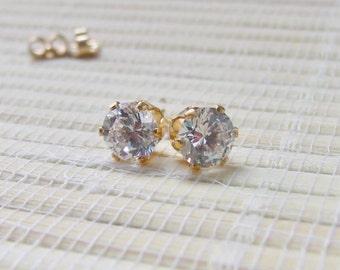 Cubic Zirconia Gold Fill earrings April Alternate Birthstone 6mm