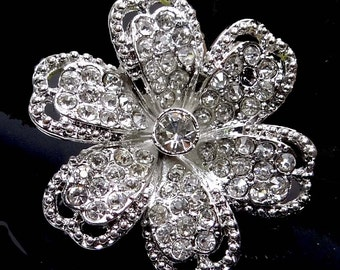 40mm Crystal Rhinestone Silver Plated Pewter Flower Focal Pendant (e7339)