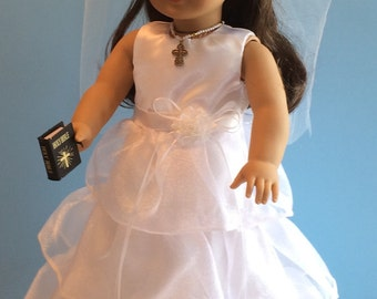 Organza Ruffle First Communion Dress and Veil - 18 Inch Doll Clothes