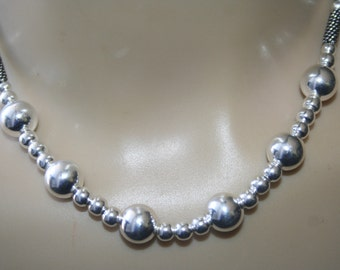 Sterling  Silver 925  Necklace / Chocker With sterling silver  beads all around  ELEGANT STUNNING