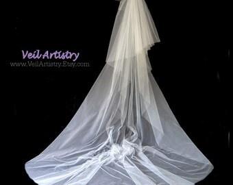 Wedding Veil, Radiance Veil, Cathedral Veil, 2 Tier Wedding Veil, Cut Edge Veil, Made-To-Order Veil, Handmade Veil