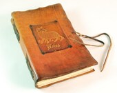 Zodiac Aries Leather bound book/ diary, natural, orange color