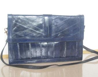 Vintage Genuine EEL Skin Purse/handbag/Electric BLUE