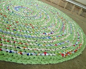 Handmade crochet round rag rug, 32 inches, eco, reuse, recycle, cabin, cottage, country, charming, vintage, modern.