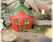 Fairy House Red  Strawberry  Home  Ceramic w/  Chimney- lighted use in container gardens too