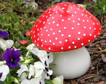 Garden Ceramic MUSHROOM Statue Large RED AMANITA fly Fairy Garden Toadstool  Gnomes red  Poison only if ..eaten.  pottery