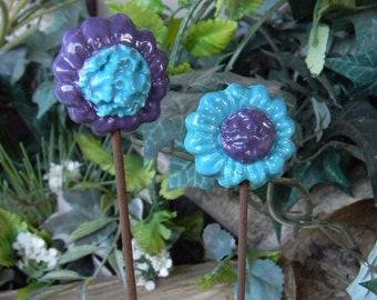 Ceramic Sunflowers  Flower Clusters 2   Bright turquoise teal Purple  Flower Stakes for plant markers - Daisy Poppy Flowers