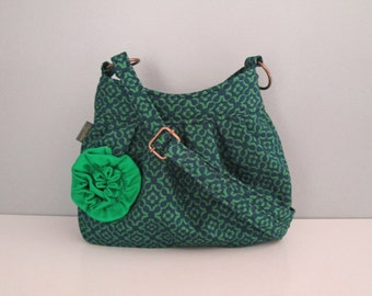 Small shoulder handbag handmade in classic navy and green with ruffle flower embellishment, cross body purse