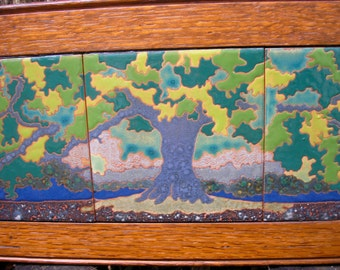 Grand Oak Framed Tile Trio, AVAILABLE NOW, arts and crafts, mission style, decorative tile