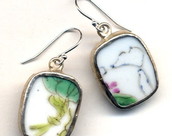 Antique Pottery  Earrings with Blue and Green Color, Dainty delicate design on pottery earrings ,OOAK earrings by AnnaArt72