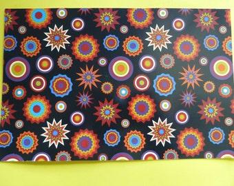 Ceramic Decal Bright Vintage Style Design Red Black Blue Yellow Chintz 23x15cm