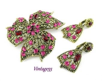 Brooch Set Rhinestone Earrings Fuchsia