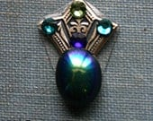 Black Iridescent Art Deco Fan Bindi - ATS or Tribal Belly Dance Facial Jewelry
