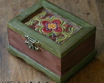 Bohemian Hand Painted Wooden Trinket Box