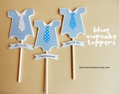 24 Baby Shower Cupcake Toppers Baby Onesie  5 Colors and 3 Message  Little Man