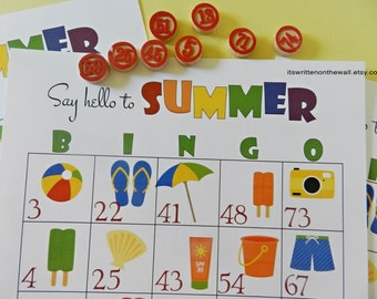 Summer BINGO Game / Summer Activity for Kids / Bingo for Kids / Traveling Game / Family Vacation Game / Beach Themed Bingo Game
