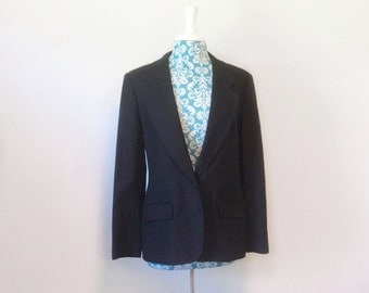 vintage black jacket // 1980s career office chic // 80s Classic Pendleton wool