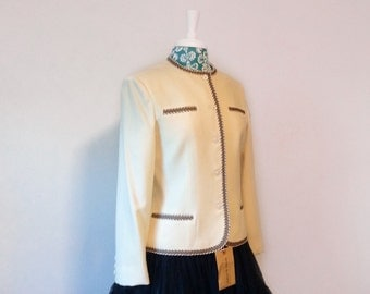 vintage cream jacket //  1970s NWT blazer // off white Devon Hall wool jacket