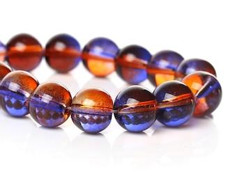 Orange and Purple  - Glass Beads - 10mm - 40 beads - #B2B48738
