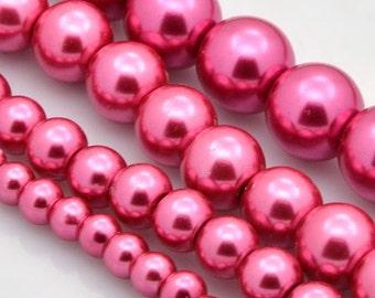 Dark Pink Glass Pearl Mix - 4mm -12mm
