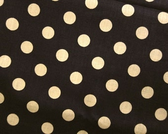 FREE SHIPPING Japanese Cotton Fabric - Large Dots Fabric in Brown (F023) - Fat Quarter