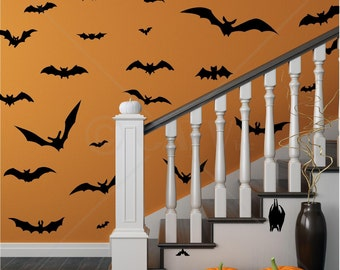 Set of 28 Large Bats wall decal stickers Halloween spooky scary self adhesive removable plus a few free ones
