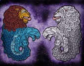 Merlion Sea Lion Heraldic Heraldry Iron on Patch Many Color Choices Singapore Lion Fish Applique